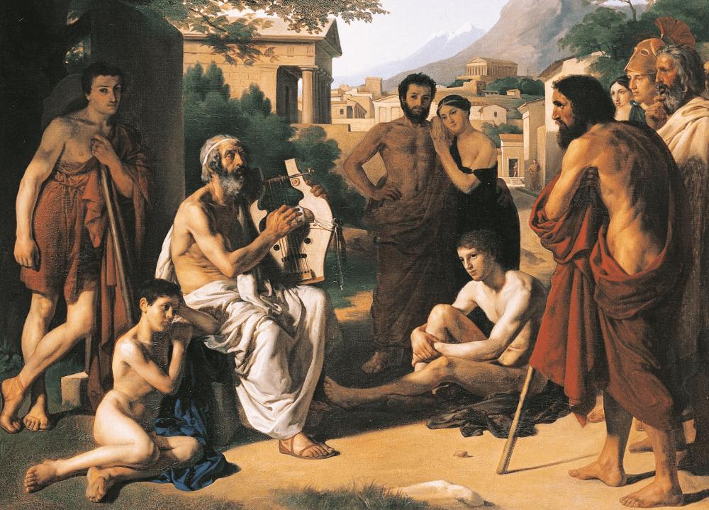 Поль Журди «Гомер, поющий свои стихи», 1834 год Местонахождение: Национальная высшая школа изящных искусств, Париж, Франция