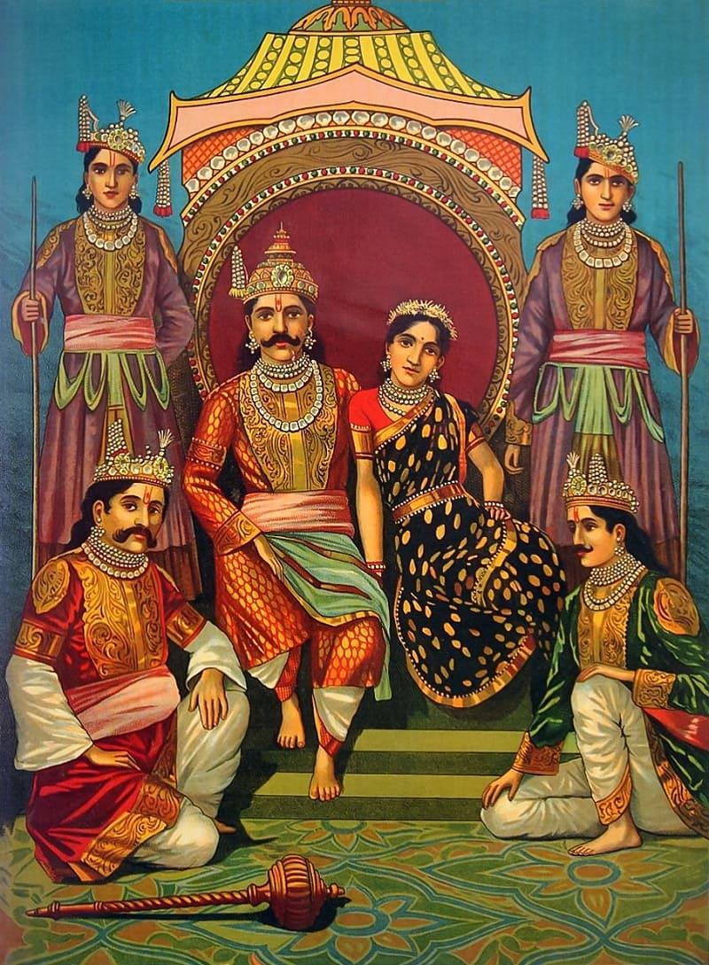 Раджа Рави Варма «Пандавы и Драупади», 1910 год / © Издательство Рави Варма Пресс