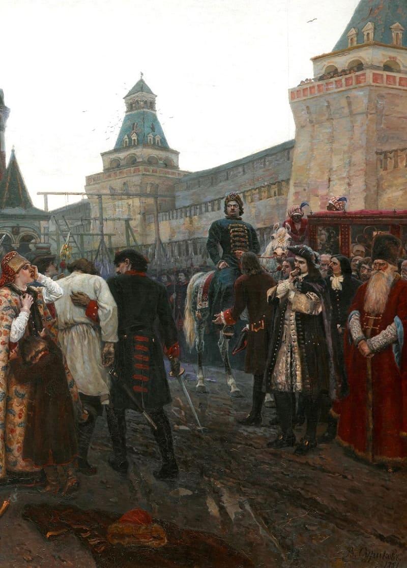 Рядом с Петром - иностранные наблюдатели, дворяне, слуги и верный сподвижник Александр Меншиков