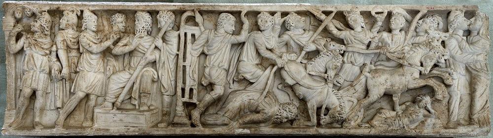 Саркофаг с мифом о Пелопсе и Эномае, III век н.э. Местонахождение: Национальный археологический музей, Неаполь, Италия
