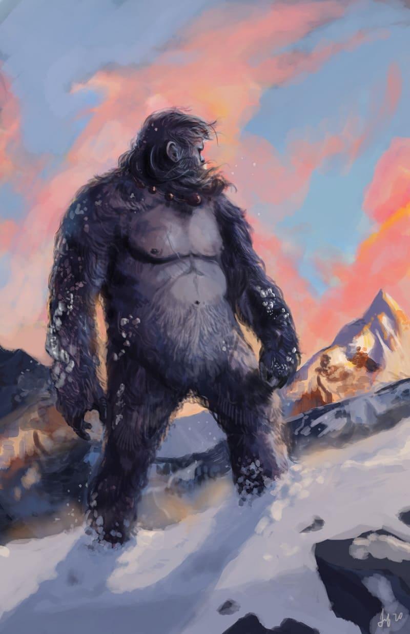 Считалось, что снежный человек живёт там, где холода и снег / © Scott Brazee / artstation.com