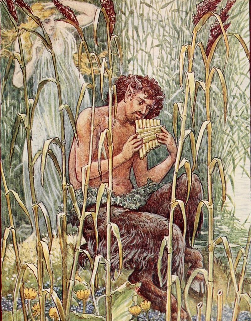 Сиринга превратилась в тростник, и чтобы не расставаться с возлюбленной, Пан сделал из тростника свирель / Художник Уолтер Крейн