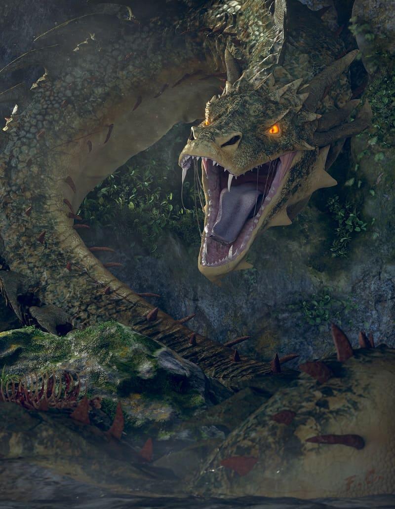 Согласно средневековым английским преданиям Василиск может скрываться в болотах / © Fabio Ceccarello / artstation.com