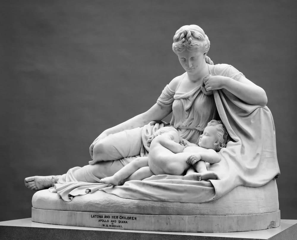 Уильям Генри Райнхарт «Лето и её дети Аполлон и Артемида», 1874 год Местонахождение: Метрополитен-музей, Нью-Йорк, США