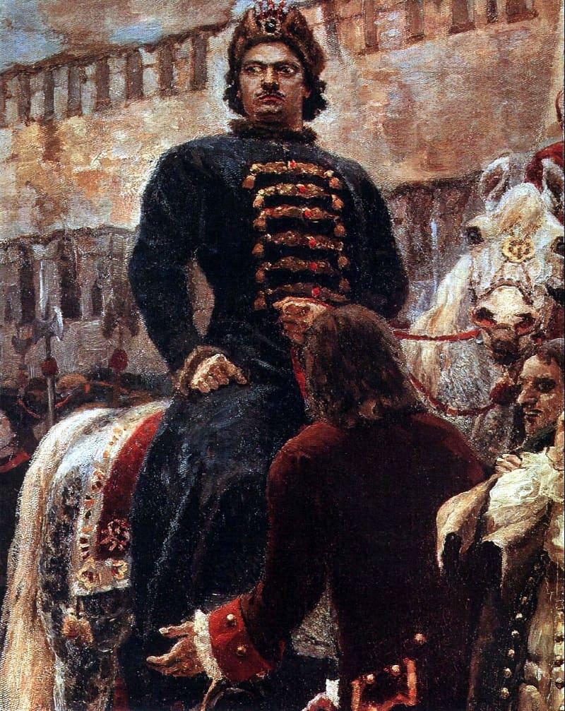 В глазах царя Петра - гнев и ярость, с которыми он взирает на мятежников