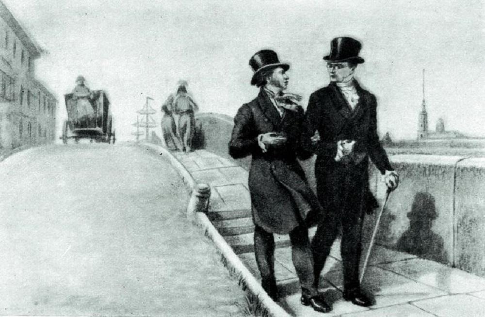 Виктор Михайлович Свешников «А.С. Грибоедов и А.С. Пушкин в Петербурге весной 1828 года», акварель,1954 год