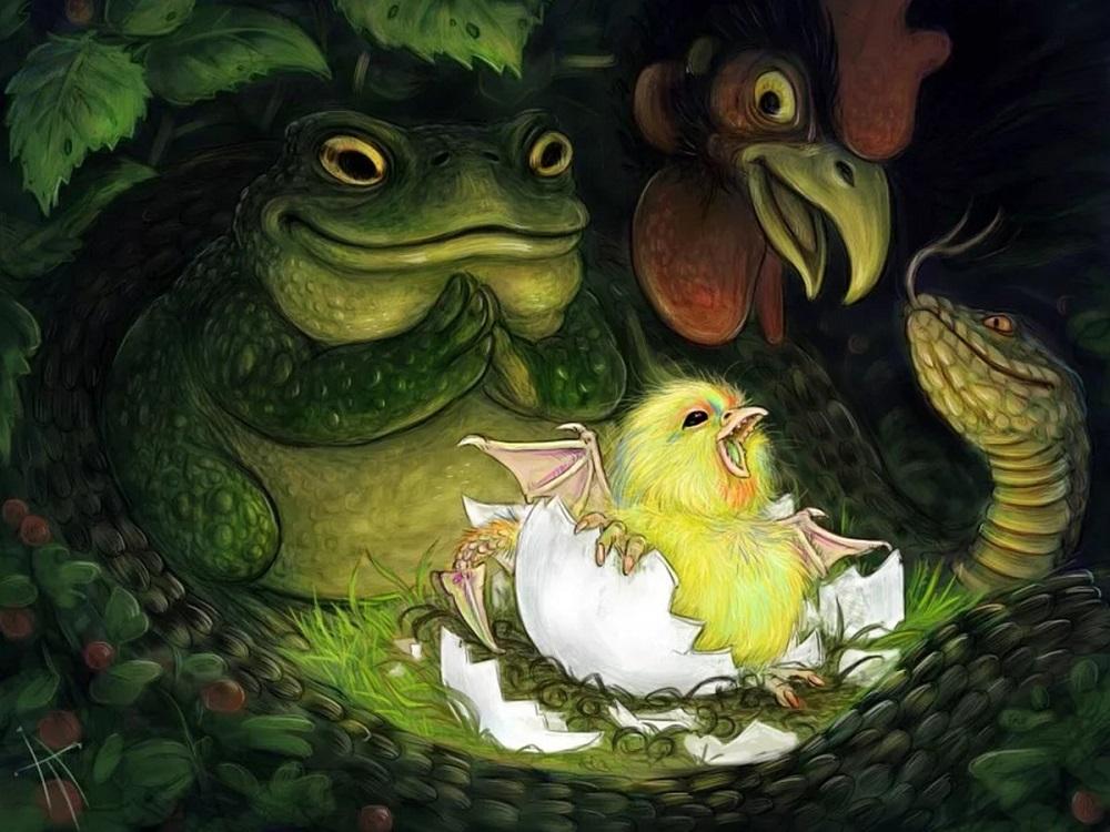 В Средние века рассказывали, что Василиск появляется на свет из яйца, снесённого старым петухом и высиженного жабой Владимир Аржевитин «Рождение Василиска» / bestiary.us