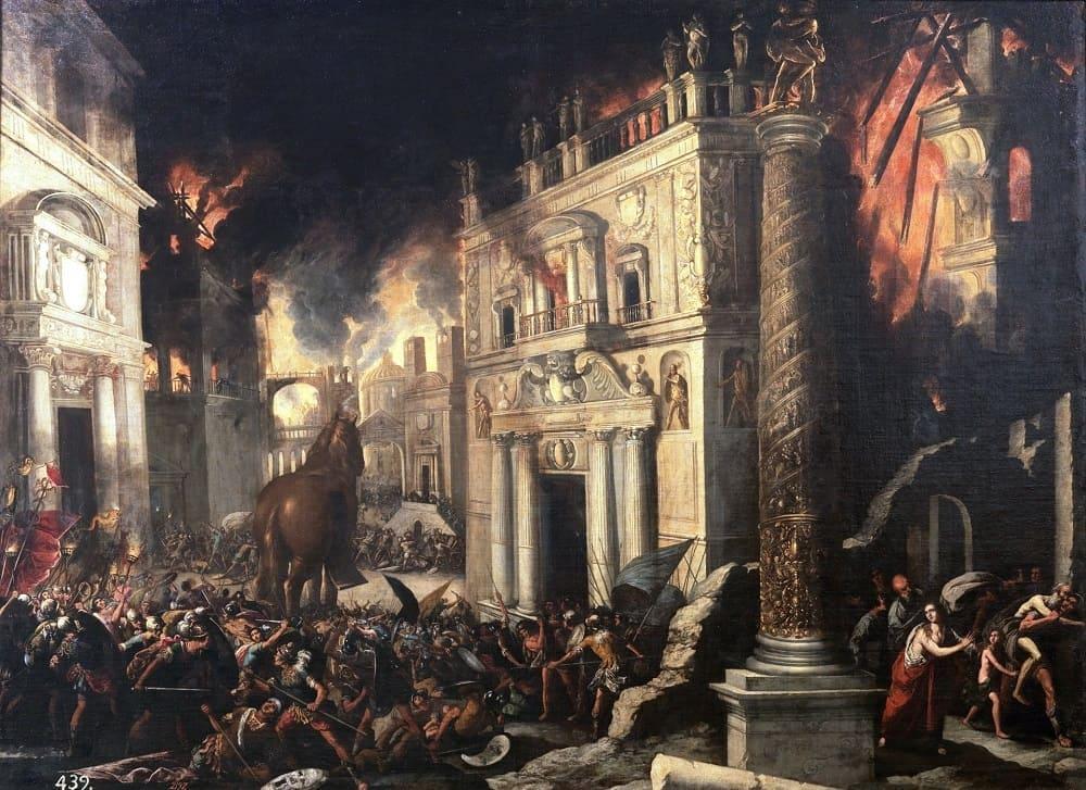 Эрида раскаялась, но не смогла помочь троянцам Франсиско Коллантес «Падение Трои», первая половина XVII века