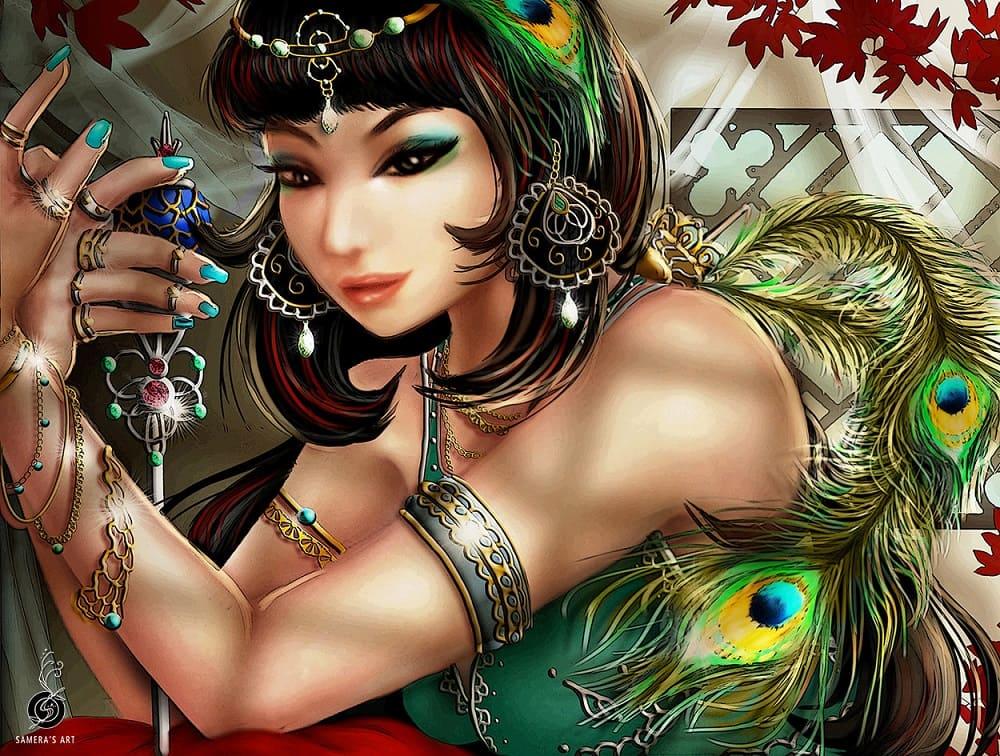 Эта красавица недаром поставлена охранять клад. Что-то с ней не так / © Samera Tseng / artstation.com