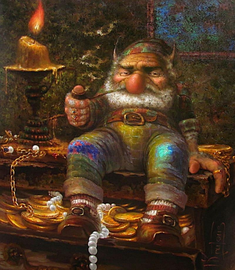 Маленький гном-кладовик невозмутим и уверен в сохранности своего клада Dmitry Krutous «Гном», 2011 год