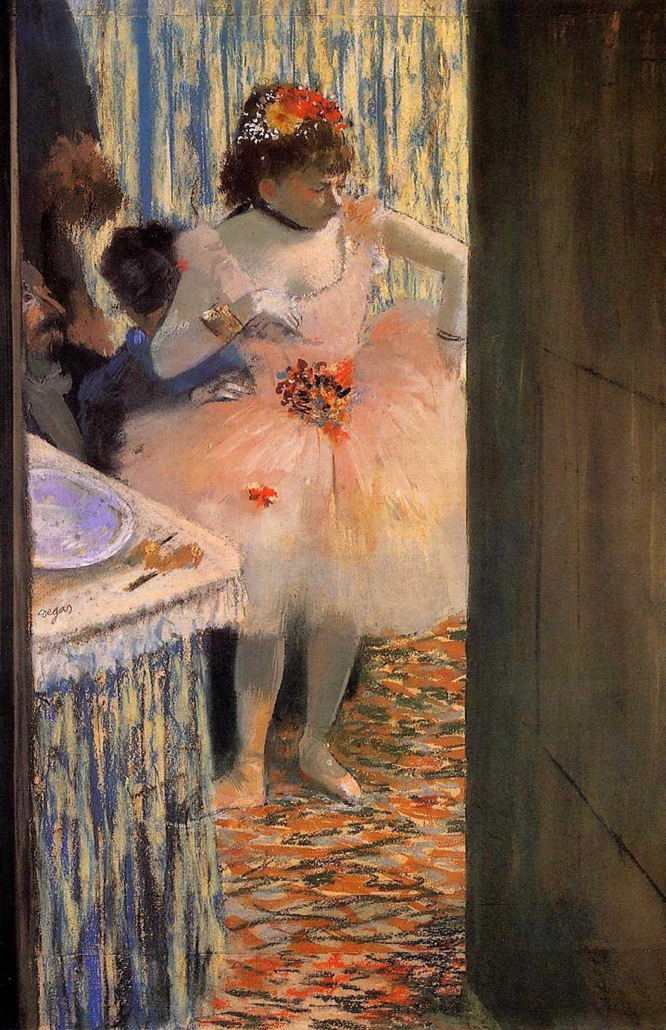 На картинах художника балерины далеко не всегда изящны Эдгар Дега «Танцовщица в своей гримерной», 1880 год Местонахождение: Фонд Оскара Рейарта, Винтертурец, Швейцария