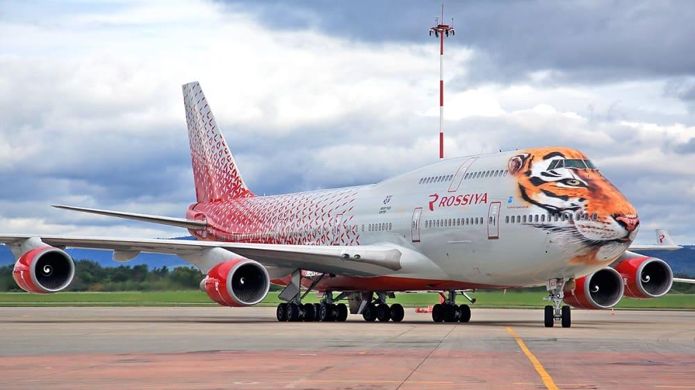 Одна из самых интересных ливрей самолёта - Боинг-747-400 Тигролет в аэропорту Владивостока / © Fedor Leukhin / miniliner.com.ua