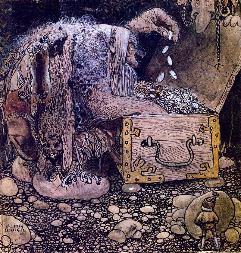 Старый скряга, спрятавший свои богатства, после смерти непременно станет Кладовиком / © Йон Бауэр / art-assorty.ru