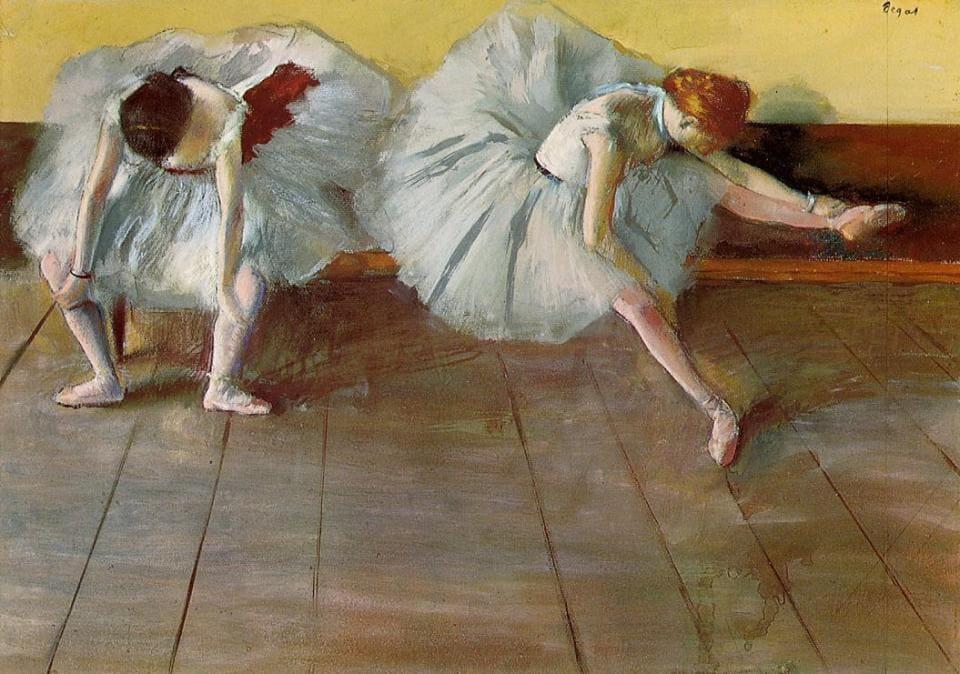 В работах Дега танцовщицы появляются достаточно часто Эдгар Дега «Две балетные танцовщицы», 1879 год Местонахождение: Музей Шелбурн, Вермут, США