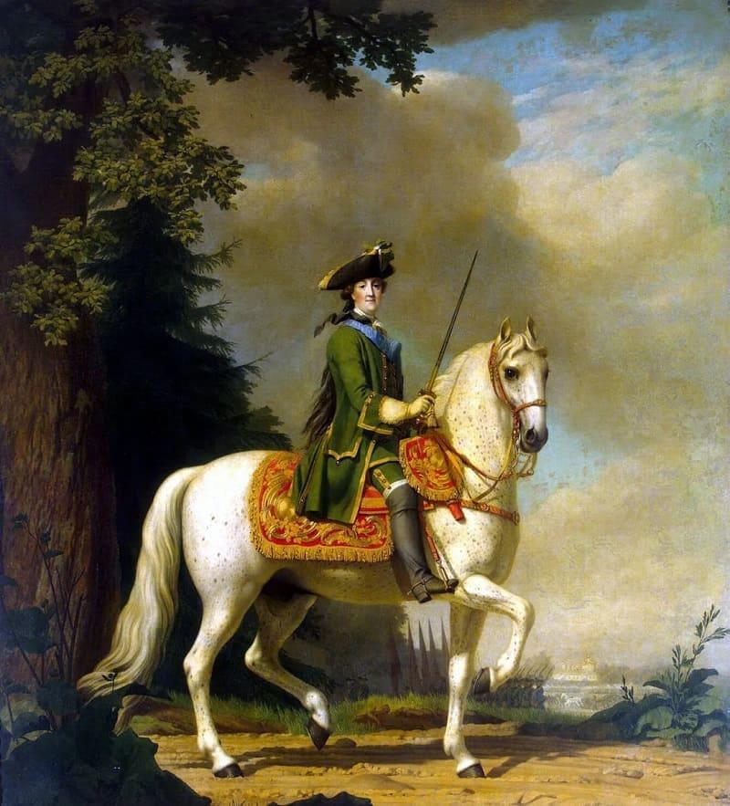 Виргилиус Эриксен «Портрет Екатерины II в гвардейском мундире на коне Бриллианте», 1762 год Местонахождение: Государственный Эрмитаж, Санкт-Петербург, Россия